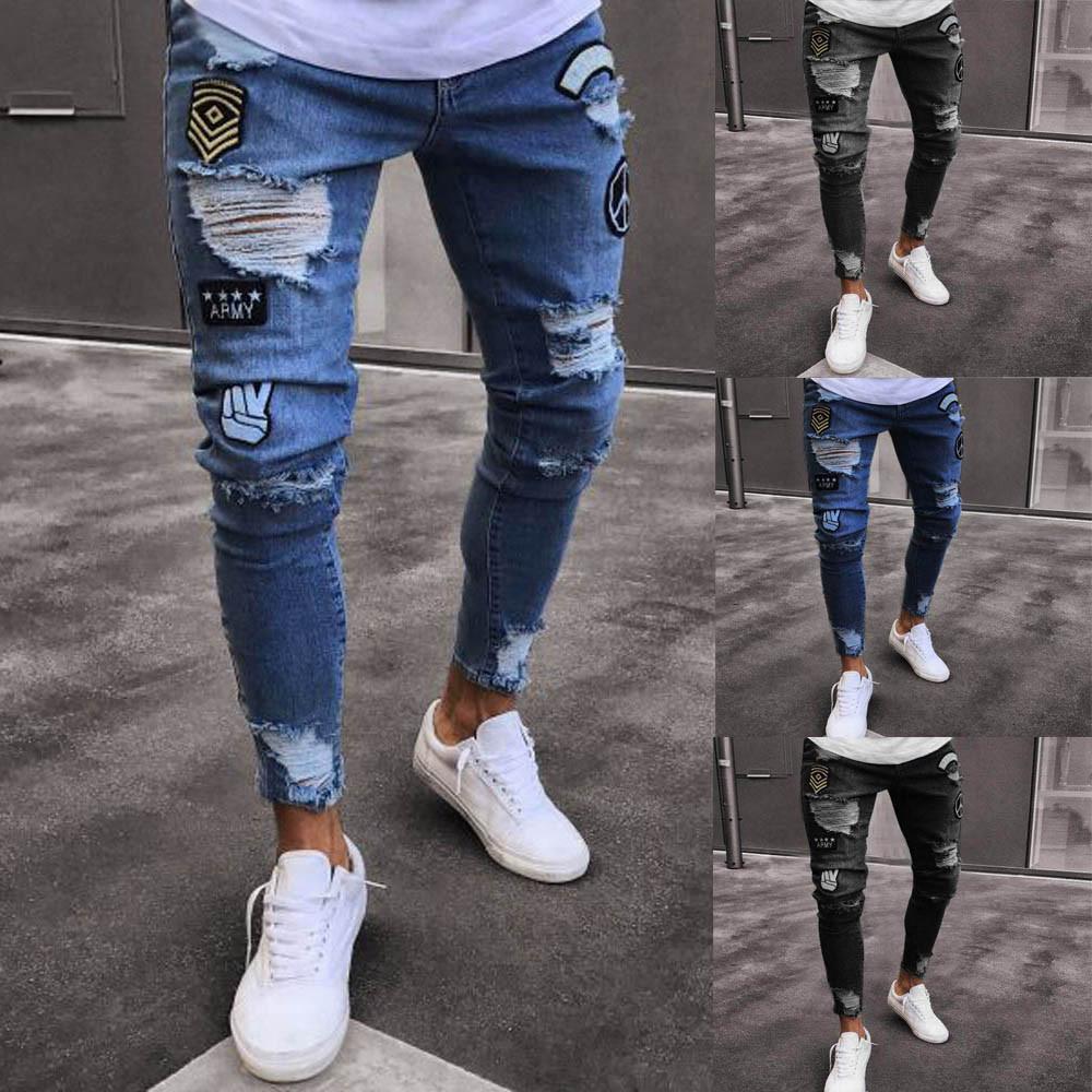 De Acheter Yoga Denim Slim Jeans Pantalons Zipper Hommes Biker vv4q0H