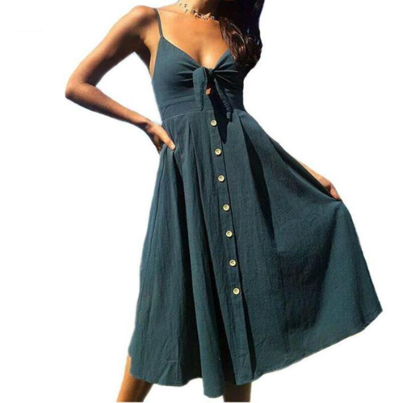 b5cb8cbd7f62 Sexy Bow Backless Polka Dots Print Beach Summer Dress Women 2019 ...