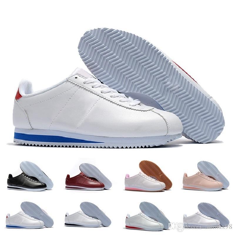 297e08e6de Compre Clássico Cortez Básico Sapatos De Couro Baratos Moda Masculina Das  Mulheres Preto Branco Vermelho Dourado Skate Tênis Tamanho 36 44 De  Airmax98
