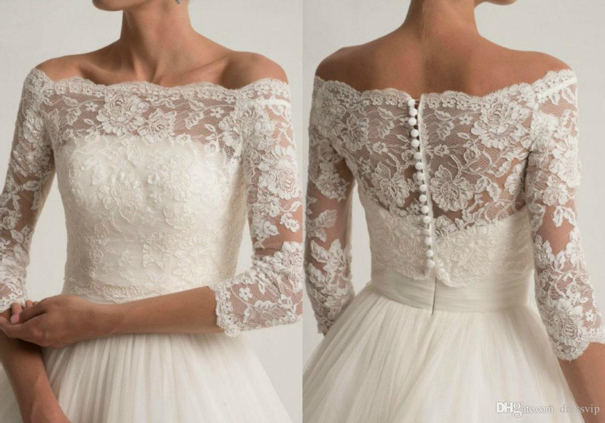 673d2df2a5d Lace Wedding Jacket For Strapless Wedding Dresses Elegant Long Sleeve  Bridal Lace Jackets White Wedding Accessories Applique Ivory Bolero