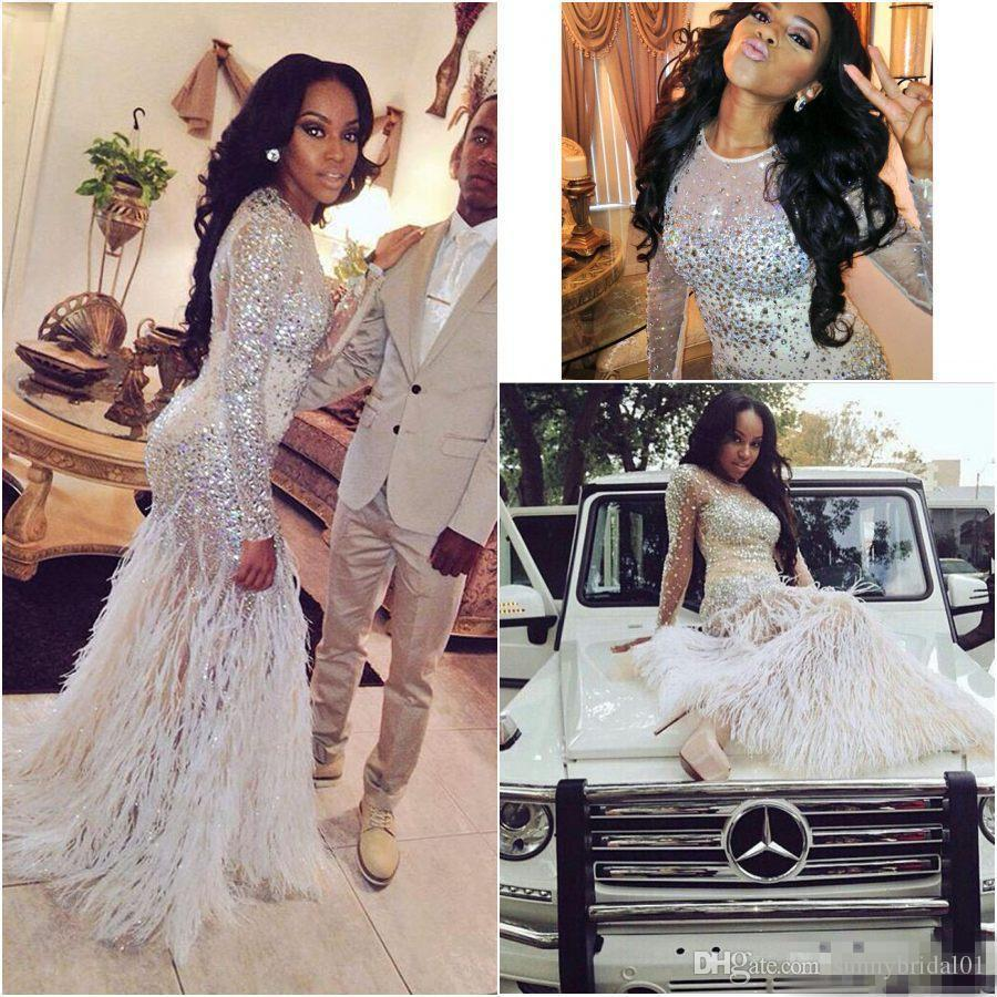 2018 Feather Prom Dresses Long Sleeves Crystals Heavy Beaded Dresses Side Split Sexy luxury african nigerian Evening pageant party Gowns