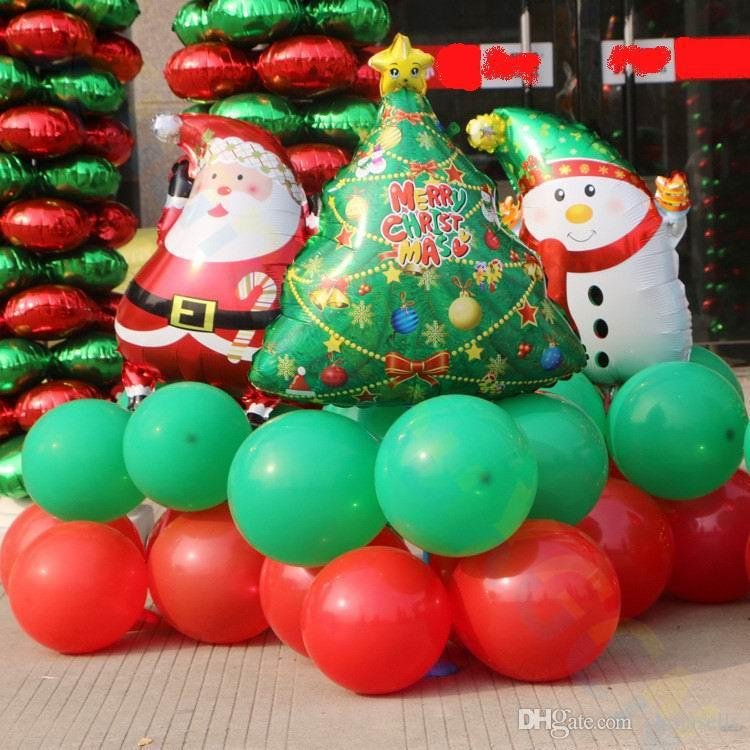 xmas small inflatable aluminum balloon column set store hotel party santa snowman tree road lead christmas decorations props all christmas decorations