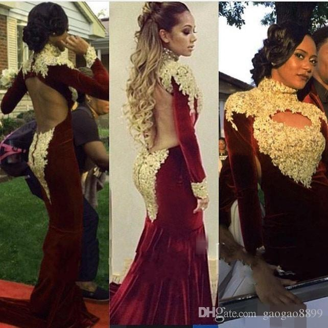 f9c2068366e2 High Neck Mermaid Long Sleeve Prom Dresses 2017 Velvet Gold Applique  Backless Burgundy Gorgeous Arabic Dubai Occasion Formal Evening Gowns Lace Prom  Dress ...