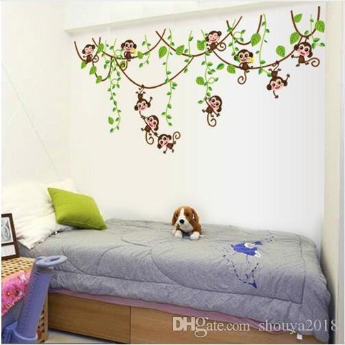 Monkeys Vinyl Tree Wall Stickers Kids Rooms Decor Children Wall Decals Animals Wallpaper Mural Baby Wall Sticker Home Decorati