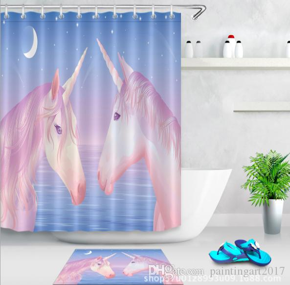 2018 3d Polyester Fabric Lovely Horse Shower Curtains With 12 Hooks For Bathroom Decor Modern Bath Waterproof Curtain Floor Mats Sets From Paintingart2017