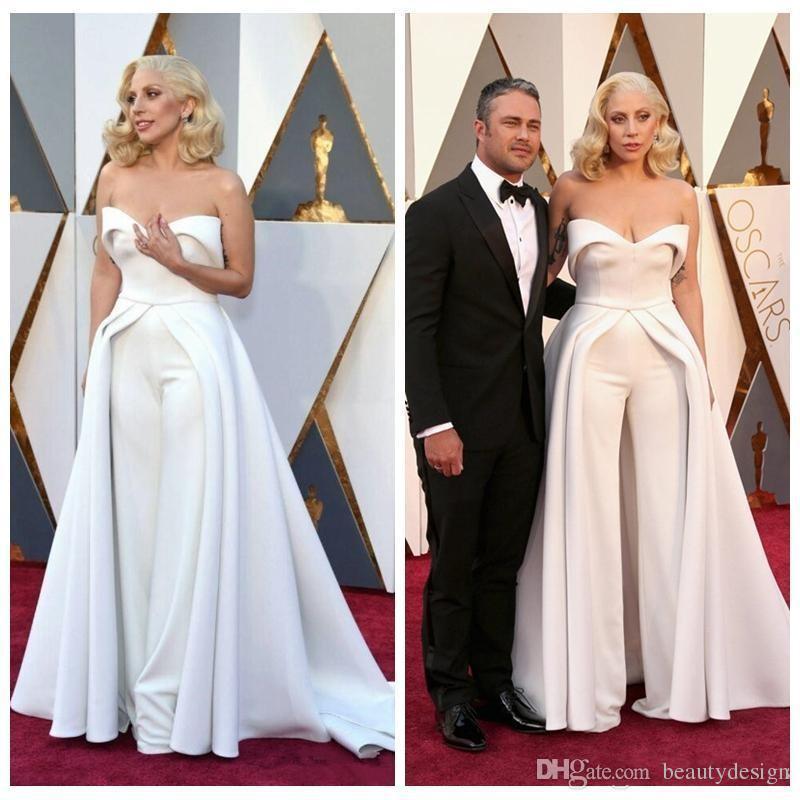 52d1254d935 Großhandel 2018 Neue Mode 88th Oscar Lady Gaga Celebrity Kleider Weiß  Schatz Sassy Kleider Hosen Satin Sexy Red Carpet Prom Kleider Von  Beautydesign
