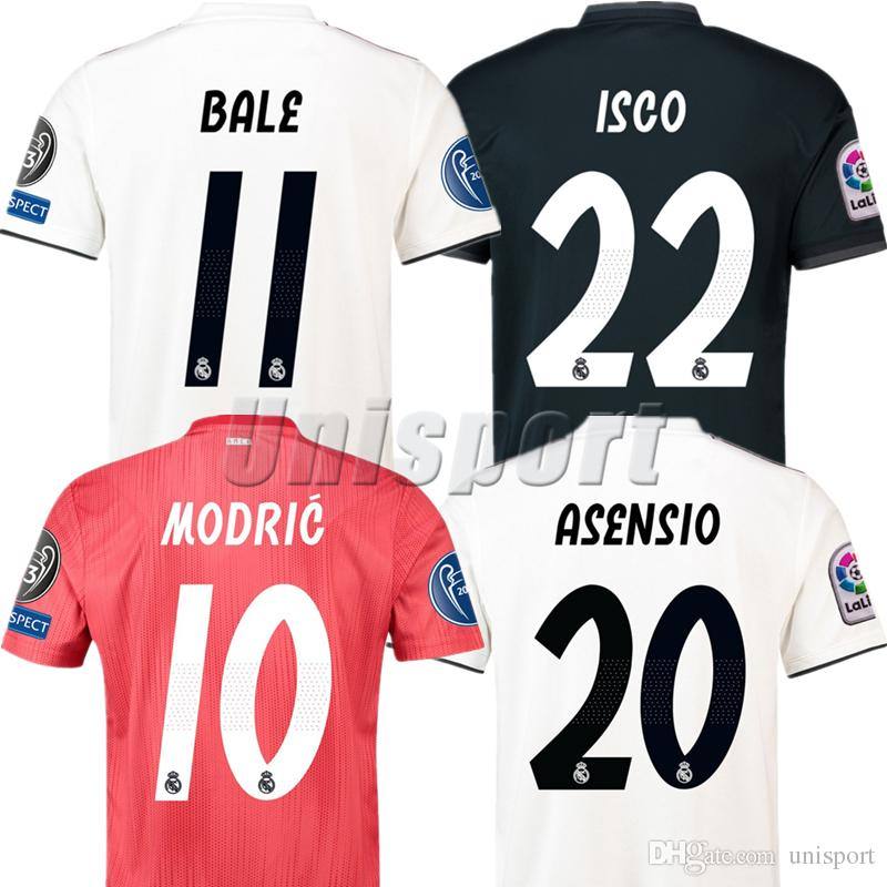 ef3118f3c7a46 2018 19 Real Madrid Champions League Jerseys De Fútbol Ronaldo Isco Asensio  Futbol Camiseta Camisa Football Kit Maillot Camiseta Por Unisport