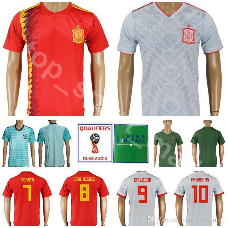 38bec542b57 2019 2018 World Cup Soccer Jersey Spain Football Shirt Kits Men 7 MORATA 7  DAVID VILLA 8 XAVI 9 TORRES 10 FABREGAS National Team Home Red Away From ...