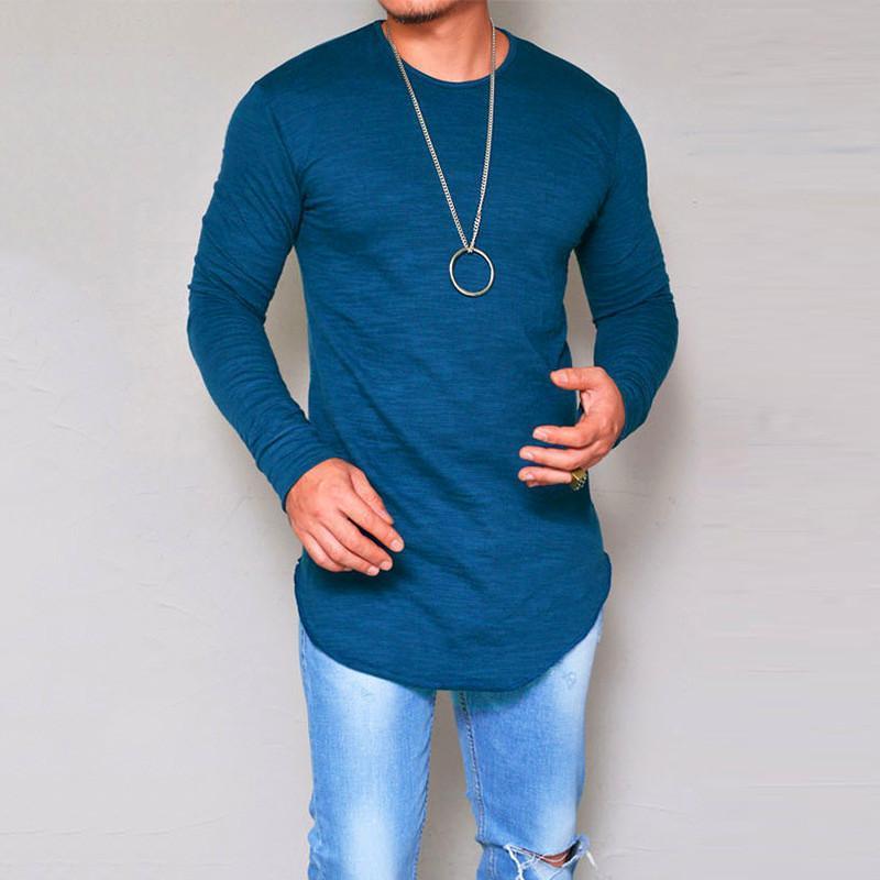fa02b4379fcb6 Compre Diseñador De Moda Camisa De Cuello Redondo Camisetas Para Los  Hombres De Manga Larga Blanca Casual Para Hombre Ropa De Lujo Camiseta Polo  Ropa S Xxl ...