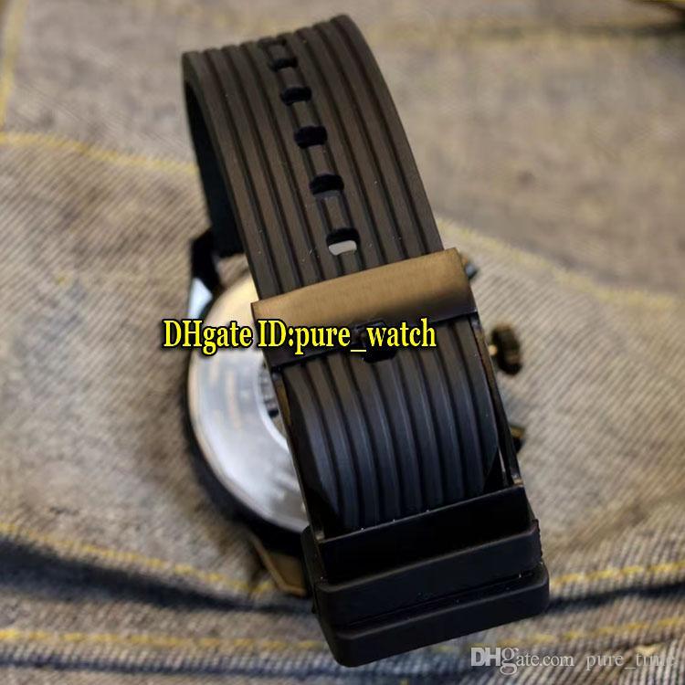 Navitimer 01 PVD Preto 43mm MB0128AN Mostrador Preto Japão Quartz Chronograph Mens Watch Pulseira De Borracha Cronômetro de Alta Qualidade Esporte Relógios