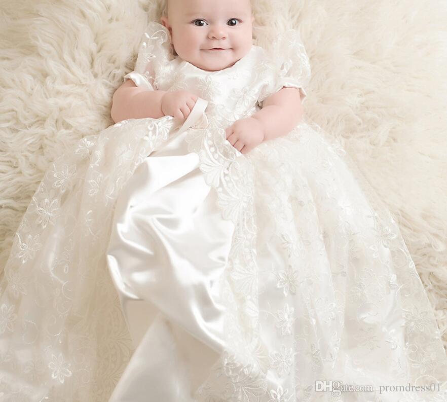 big sale e7544 2c416 Nuovo arrivo Baby Girl Abito ricamato per battesimo abiti da prima  comunione lunghezza del pavimento in pizzo bambini abbigliamento formale