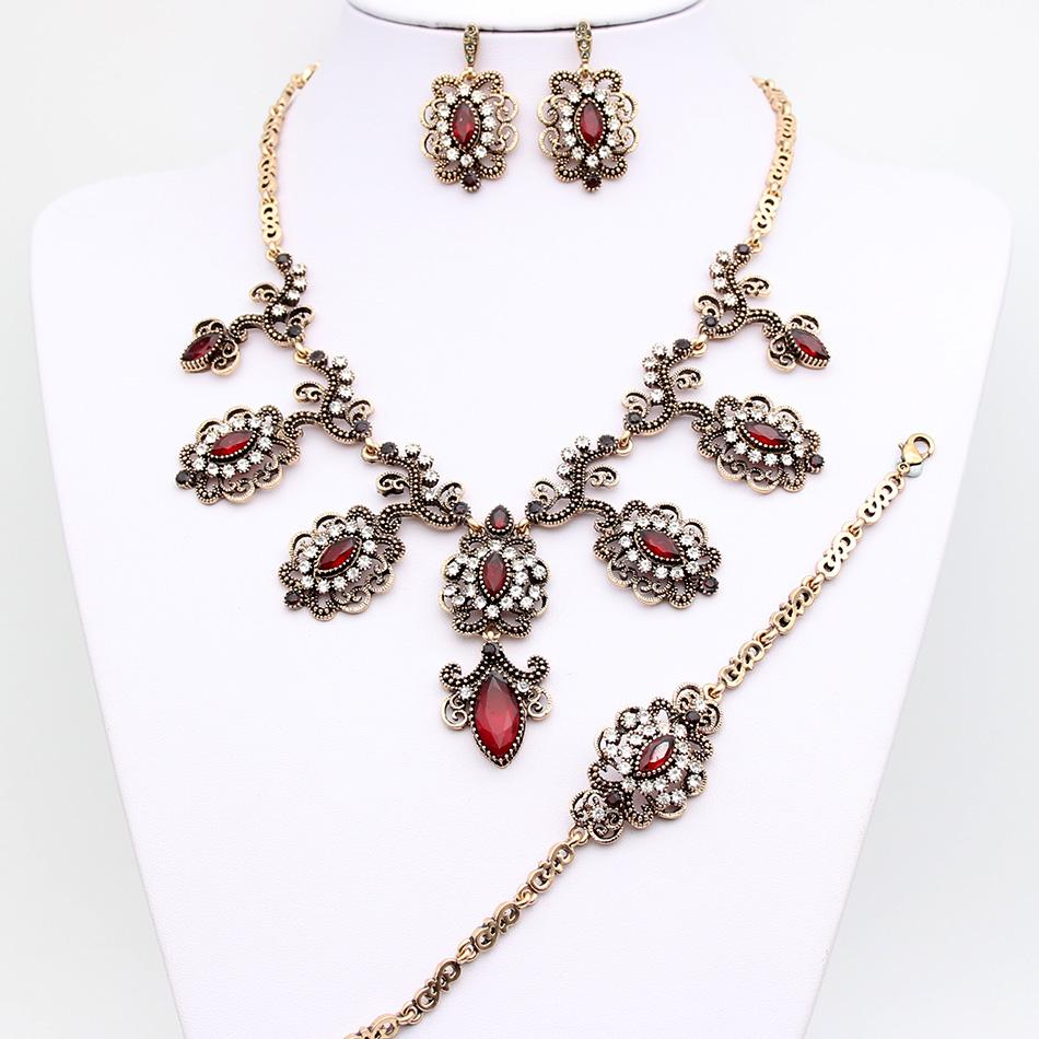 Luxury Turkey Bridal Flower Jewelry Sets Earring Resin Necklace Rhinestone Bracelet Ring Antique Gold Color Wedding Jewelry Set