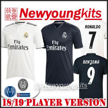 f7411e94d4a 2018 19 Real Madrid Home Player Version Soccer Jersey Away Black ...