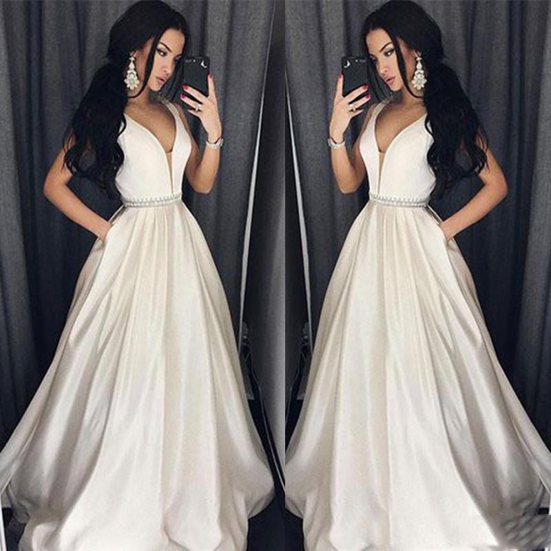Elegantes tallas grandes Vestidos de baile Una línea palabra de longitud Vestido largo formal Vestido de noche Cuentas Sash Robe De Soiree