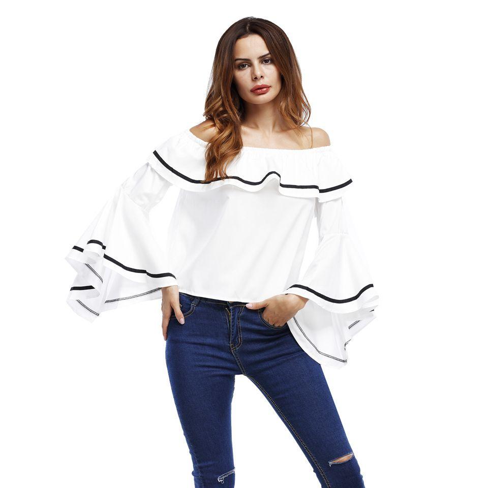 f0dce0db6aacb5 YAMARKET Black White Striped Elastic Off Shoulder Sexy Tops Women T Shirt  Ruffle Flare Half Sleeve Loose Ladies Elegant Tees Buy Funky T Shirts  Online Ot ...