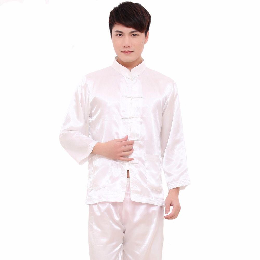 2019 White Chinese Style Men Rayon Soft Pajamas Suit Vintage Single  Breasted Pyjamas Long Sleeve Shirt Pant Sleepwear M L XL XXL From Stripe adafb28d0
