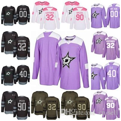 new product d84c7 a90b4 2017-2018 Season Dallas Stars 32 Kari Lehtonen 90 Jason Spezza 40 Remi Elie  Purple Salute 100th Custom Hockey Jerseys Mens