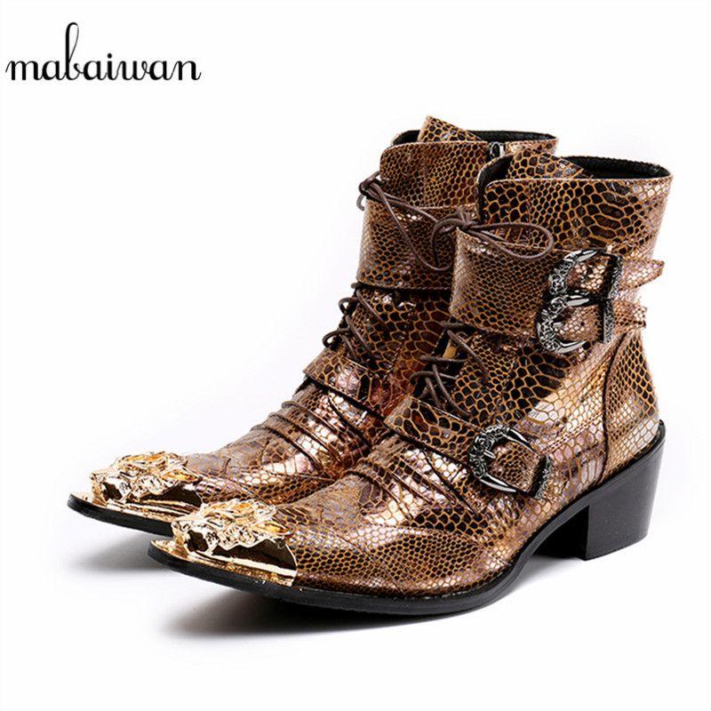 Großhandel Mabaiwan 2018 Gold Dragon Spitz Punk Style Männer Schuhe Cowboy Stiefeletten  Schnür Schnallen Schuhe Männer Botas Hombre Von Ajkobeshoes, ... 7af8fc39e1