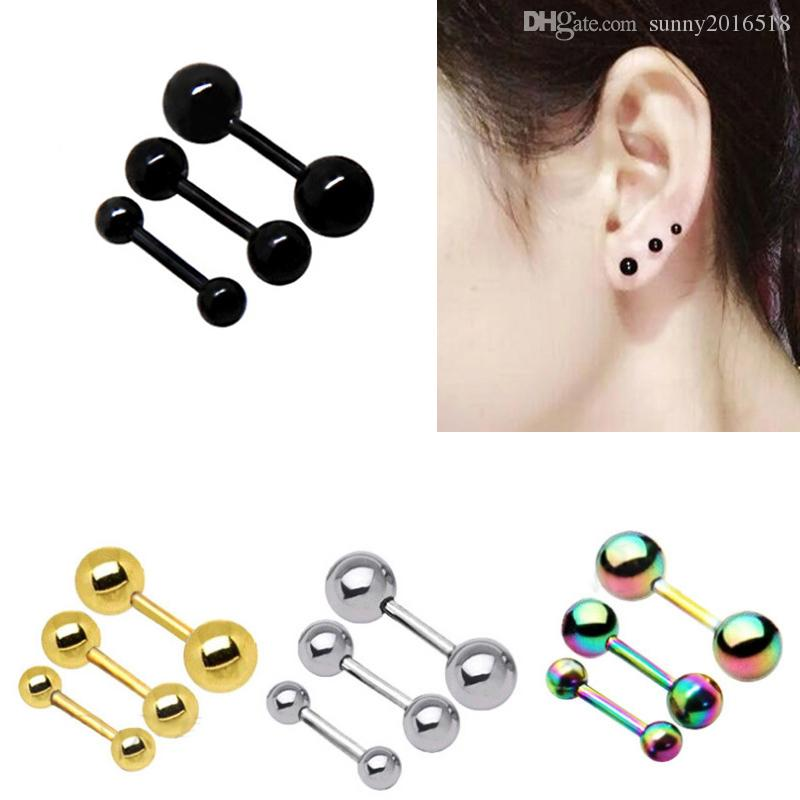 937e1ca4f 2019 Ear Cartilage Tragus Earring 16G Surgical Steel Labret Piercing Lip  Bar Ear Stud Helix Barbell Body Piercing Jewelry Silver Black Gold From ...