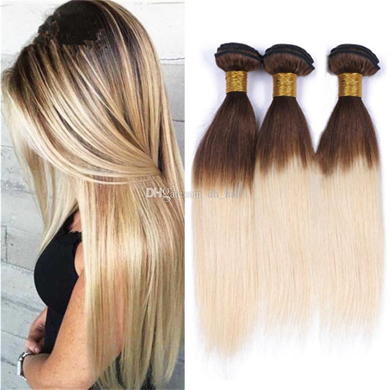 Silky Straight Brown Roots Blonde Hair 3 Bundles Two Tone 4613