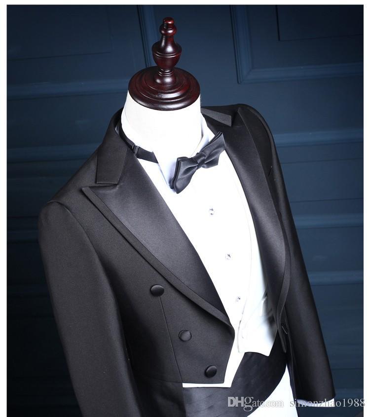 2018 Nouvelle Arrivée Classique Brillant Noir Queue Manteau Marié Smokings Garçon D'honneur Costume De Mariage Fait Sur Mesure Costumes Tailcoat Veste + Pantalon + Gilet + Arc