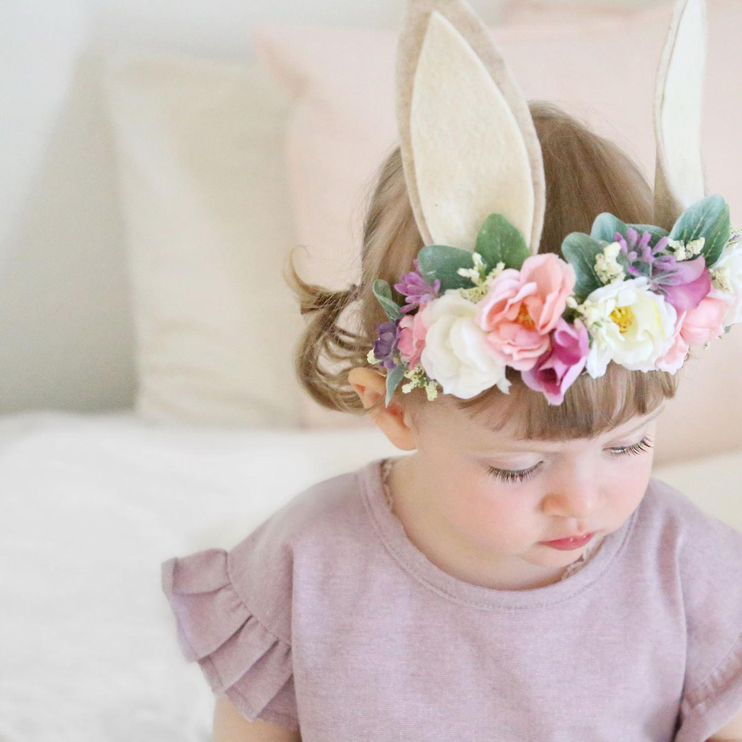 Baby Bunny Flower Crown Artificial Flower Rabbit Ears Headbands Cute