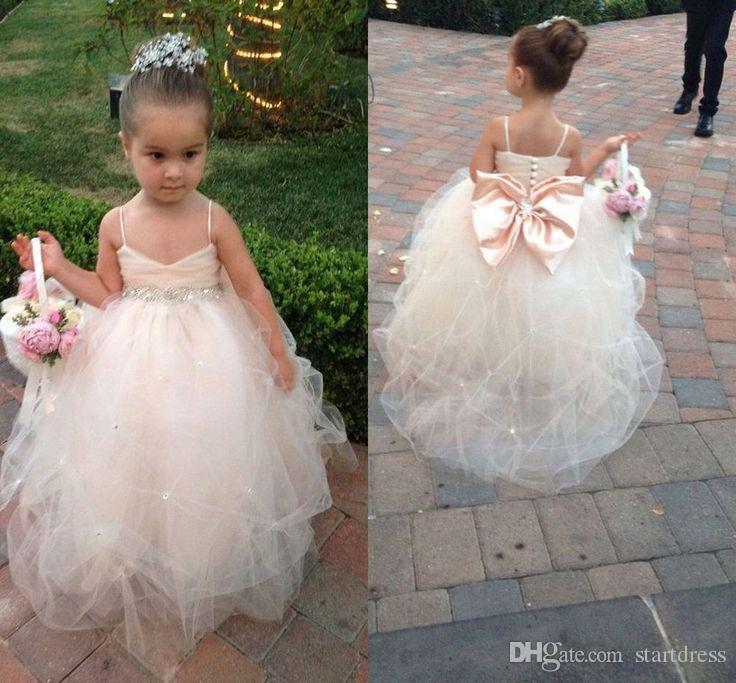 Country Ball Gown Spaghetti Straps Flower girls Dresses Beaded Sash Puffy tulle Crystal Formal Party Kids Pageant Dresses Big Bow Back suit