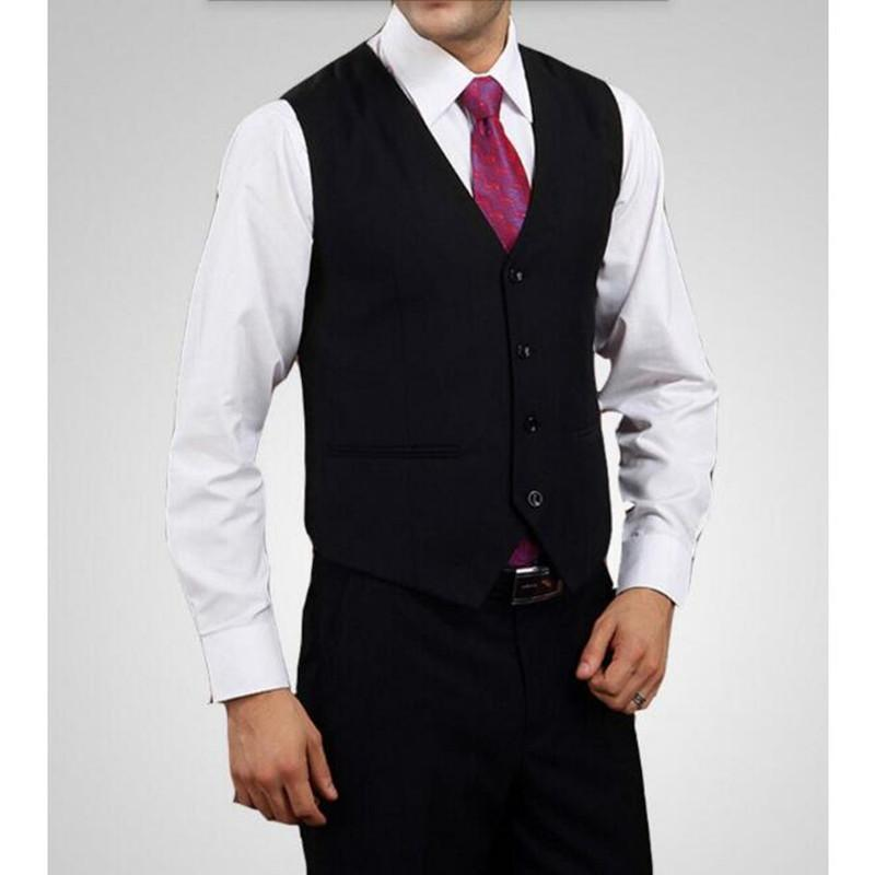 Compre Hombres Traje Chaleco Formal Vestido Negocio Sólido Slim Fit Cuello  Sin Mangas Chaleco De Alta Calidad Personalizado Barato Chaleco De Negocios  ... 1cd4088f8eb
