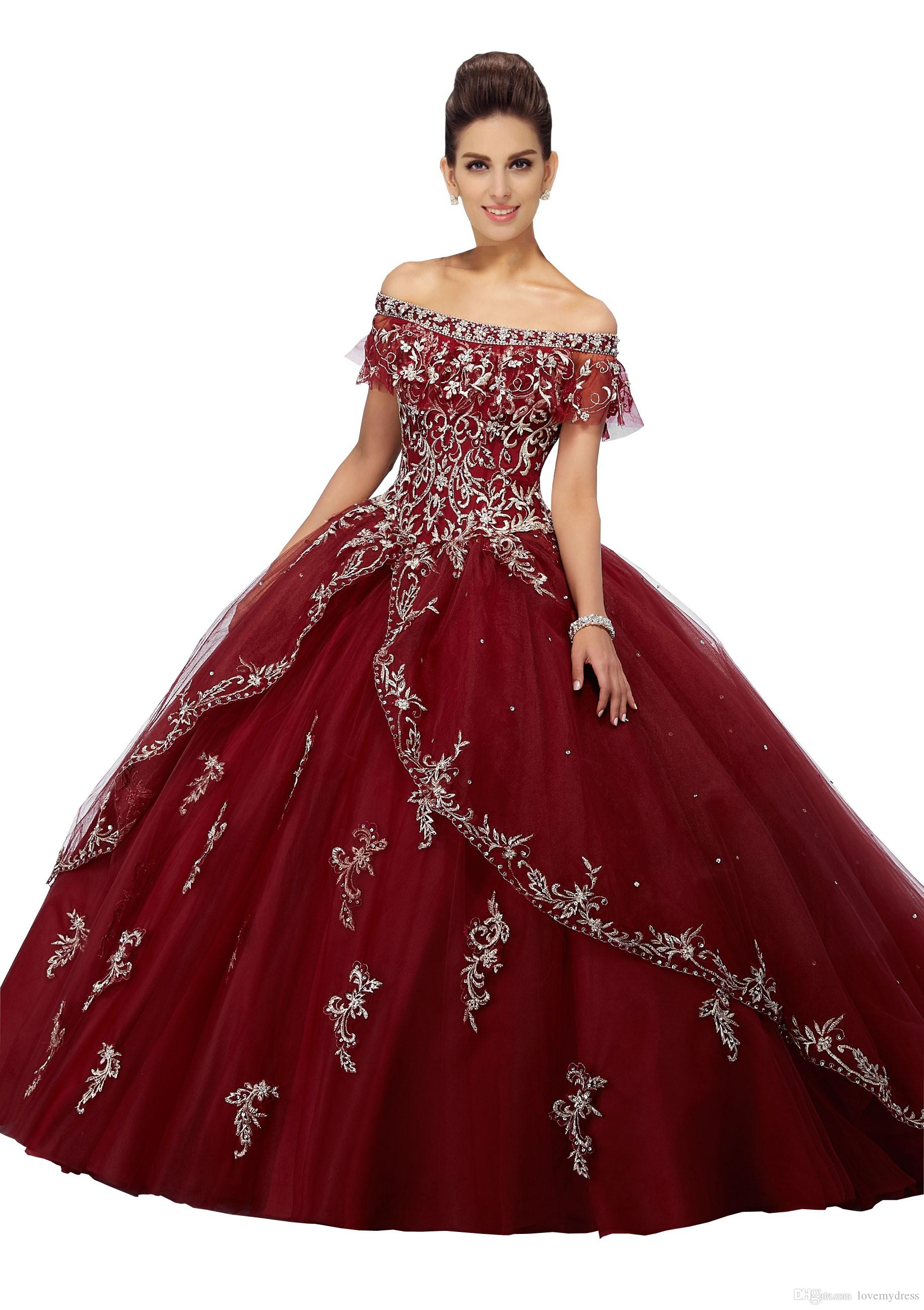 Off The Shoulder Ball Gowns Quinceanera Dress 2019 Embroidery Beaded