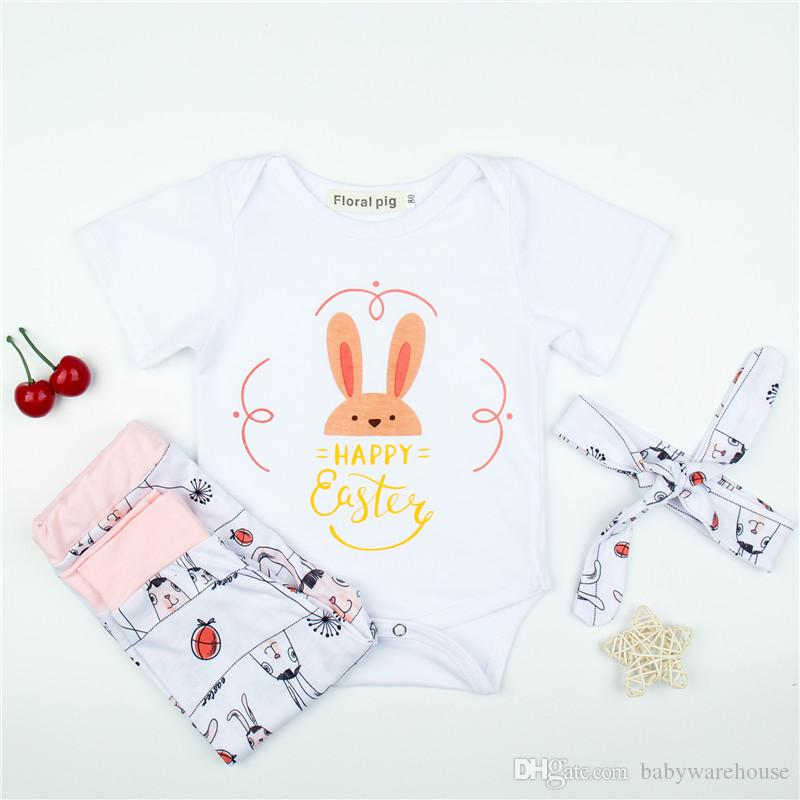91f653bbeb Easter Newborn Baby Girls Clothes Set Bunny Print Short Sleeve Cotton  Romper +Pants +Headband Girls Set Toddler Clothing Infant Outfits UK 2019  From ...