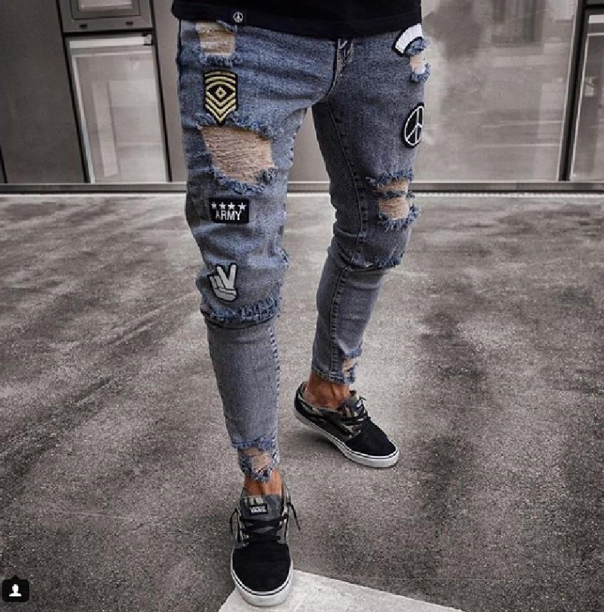 Acquista Jeans Da Uomo Strappati Alla Moda Da Uomo 2018 Pantaloni Da Denim  Sfilati Dritti Sottili Skinny Jeans Da Uomo A  33.8 Dal Xiayuhe  9ccc70851a92
