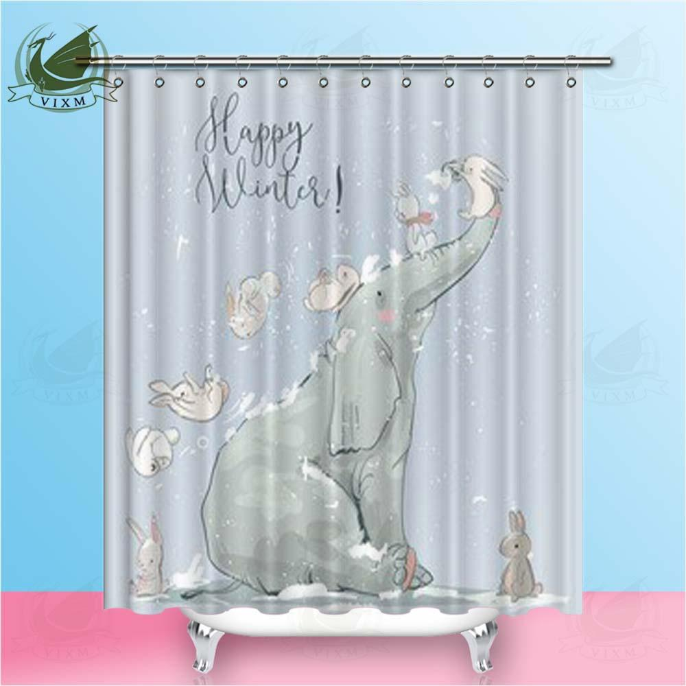2019 Vixm Home Elephant Rabbit Shower Curtain European And American Style For Bathroom With Hooks Ring 72 From Bestory 1665