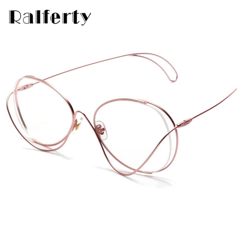 714f5137b09 2019 Ralferty Unique Designer Glasses Frames Women Irregular Pink Metal  Rims Eyewear Clear Lens Eyeglasses Decorate Spectacles X0507 From  Jianyue16