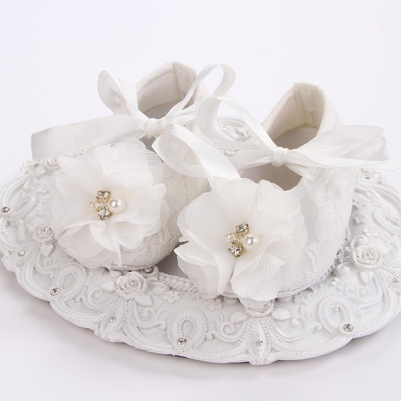 57df6518a852e baby girl shoes pearl,ivory christening baby shoes for girl,infant lace  flower booties walker for baptism #2X0123 retail