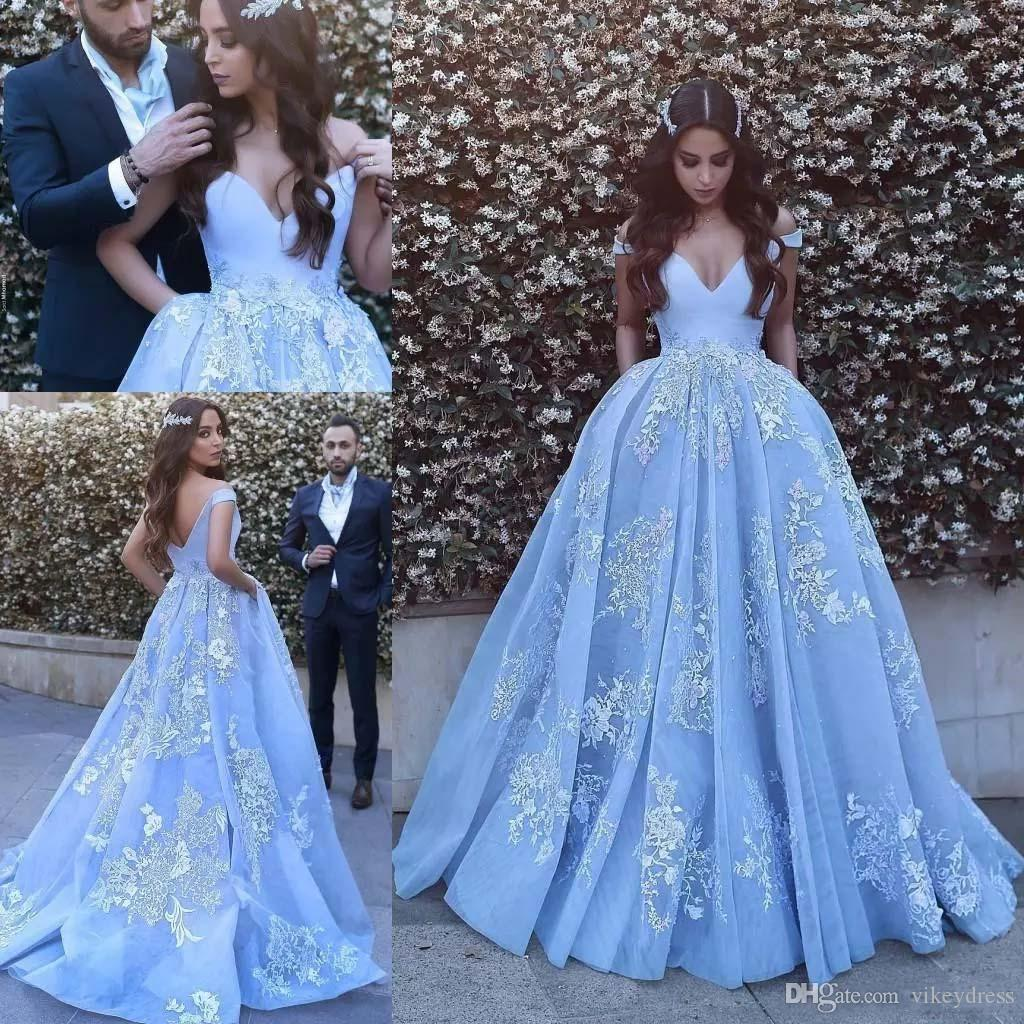 b4368bf7b9c Lace Applique Ball Gown Prom Dresses 2019 with Pocket Dubai Arabic Off  Shoulder Court Train Formal Evening Party Gowns
