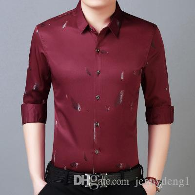 fashionable luxury 2018 new design autumn and winter men's long sleeved high quality cotton soild color casual shirt