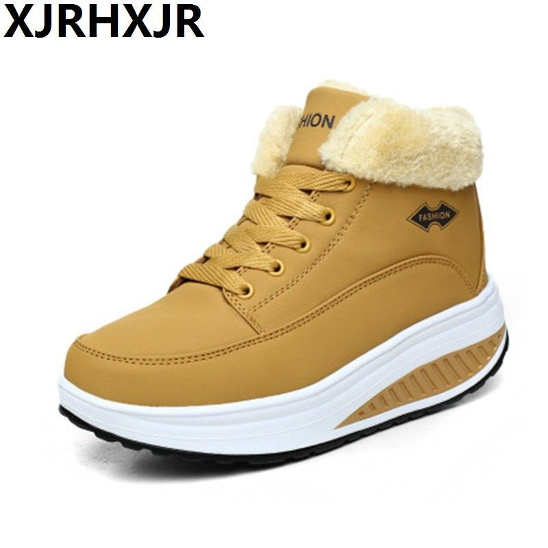 Warm Plush Women Swing Shoes Lace Up Platform Casual Shoes Wedges Height Increase Winter Snow Boots Waterproof Walk Shoes