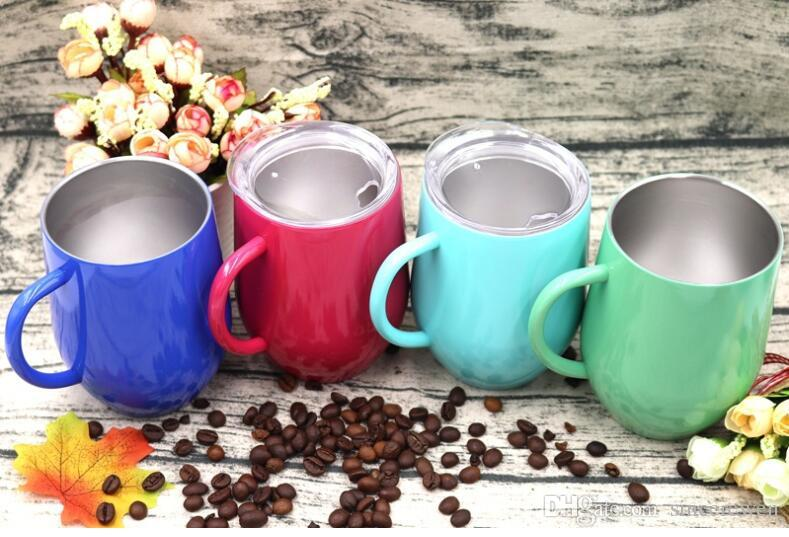 12OZ Hot style inside and outside 304 stainless steel egg-shaped red wine glass eggshell coffee cup u-shaped double insulated egg cup