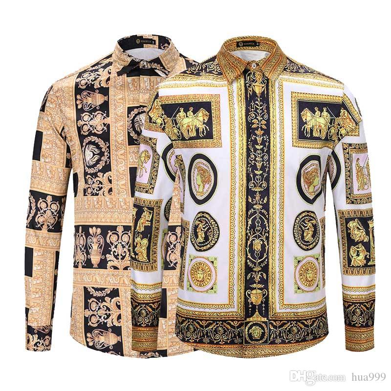8d9a94f94d ... 2018 Social Slim Camisa De Los Hombres Retro Color Mix 3D Patrón  Impreso Moda Negocio Casual Vestido De Los Hombres Camisa De Los Hombres  Medusa Camisa ...