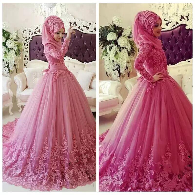 Discount 2018 Elegant Islamic Hijab Muslim Lace Wedding Dresses High ...