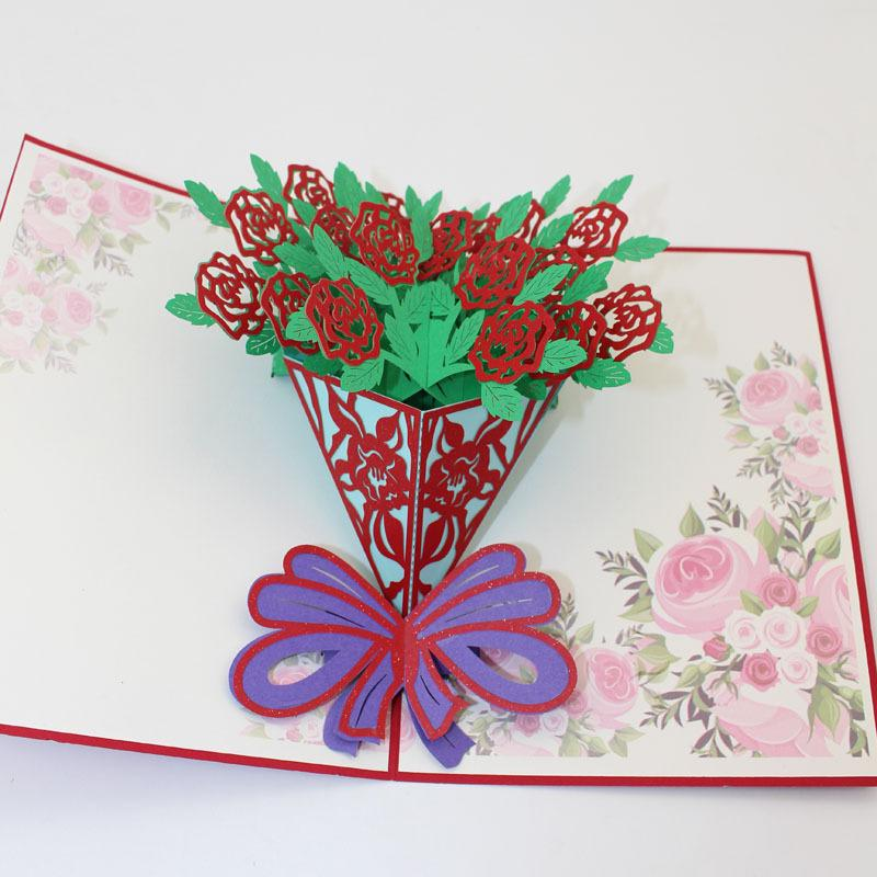 10 Pieces LotNew Arrival Happy Birthday Card 3D Pop Up Handmade Greeting Rose Flowers Valentines Day Best Wish Cards