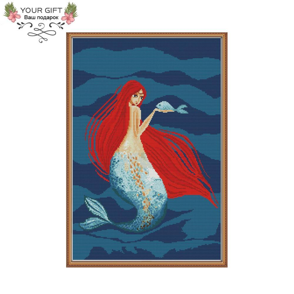 wholesale RA157 14CT 11CT Counted and Stamped Home Decor Red-haired Mermaid Needlework Embroidery DIY Cross Stitch kits