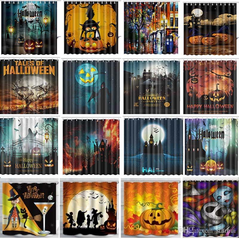 Halloween 134.165 180cm Shower Curtains Halloween Pumpkin Mermaid Elephant Waterproof Bathroom Shower Curtain Decoration With Hooks Free Dhl Wx9 134