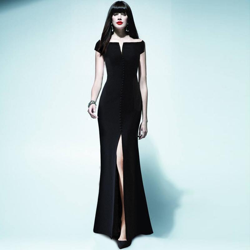 2019 Red Roosarosee New Black Strapless Slim Waist Fishtail Dress
