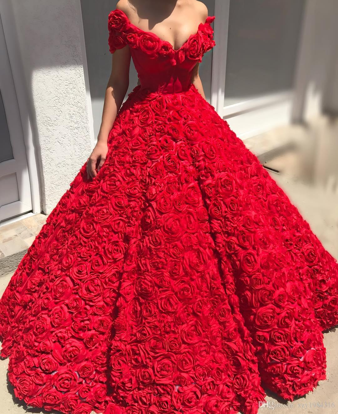 Gorgeous 3D Floral Prom Dresses Sexy Off Shoulder Floor Length Party Dresses Celebrity Gowns Charming Saudi Arabia Princess Evening Gown