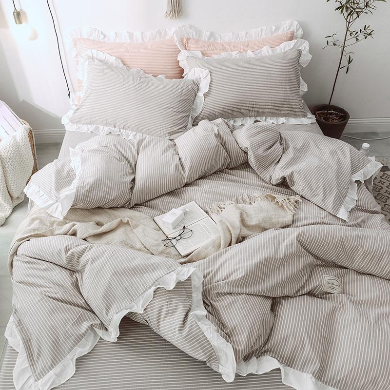 Großhandel Grey Stripe Bettwäsche Mit Rüschen Kinder Bettwäsche Soft