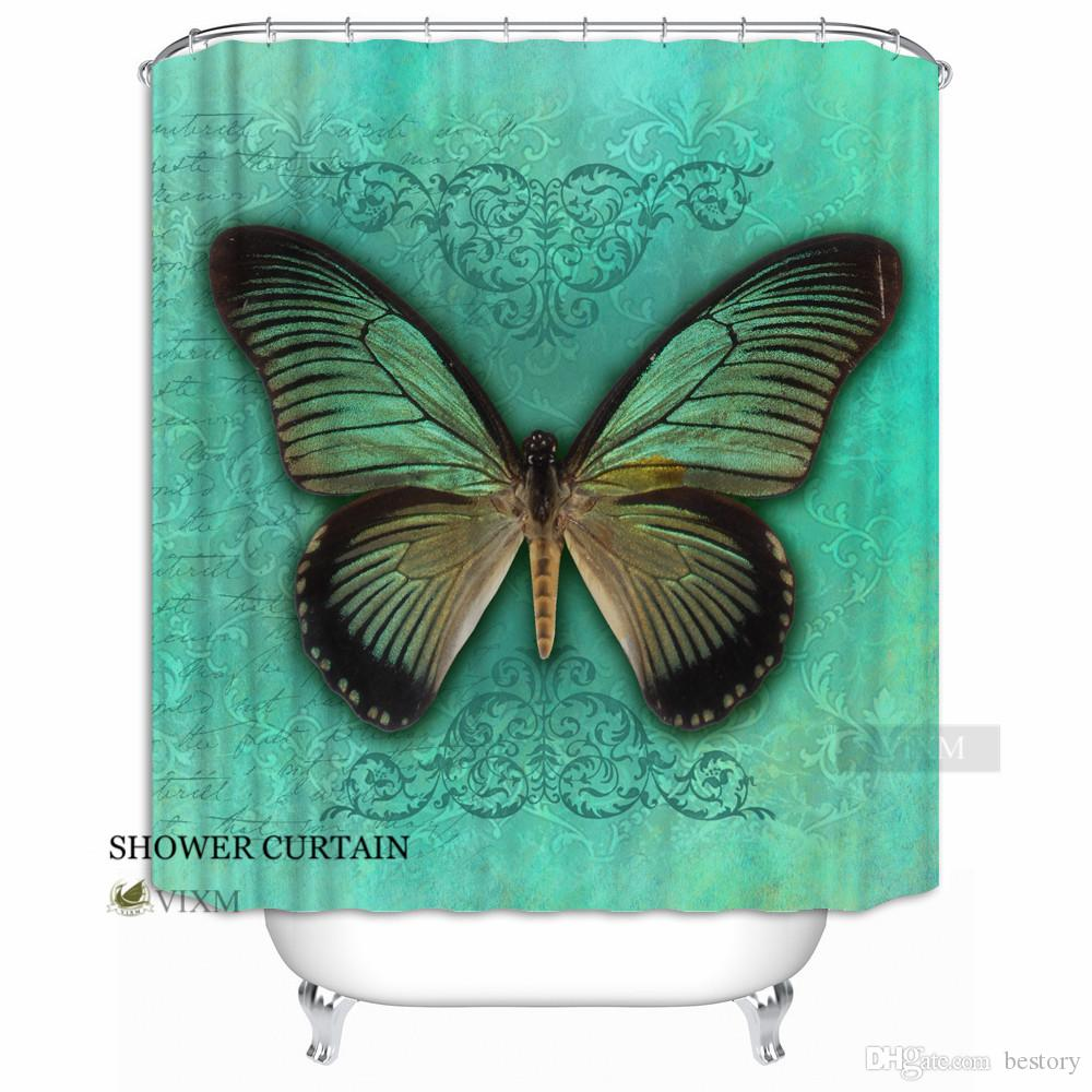 2018 Vixm Home Butterfly Flower Bushes Fabric Shower Curtain Beautiful Custom Bath For Bathroom With Hooks Ring 72 X From Bestory