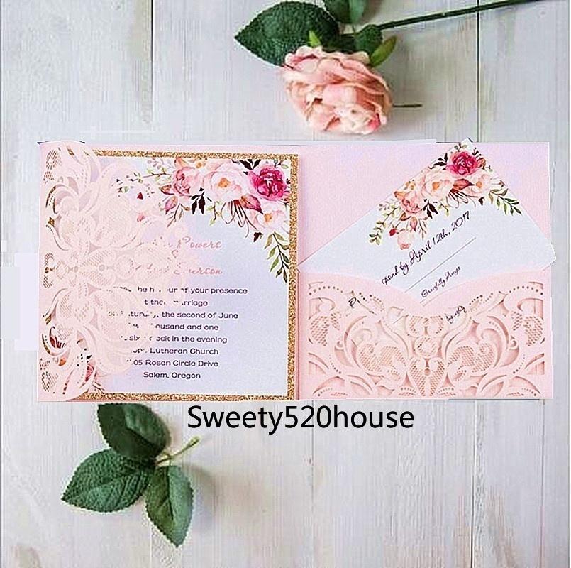 european wedding tri fold laser hollow flower party invitation