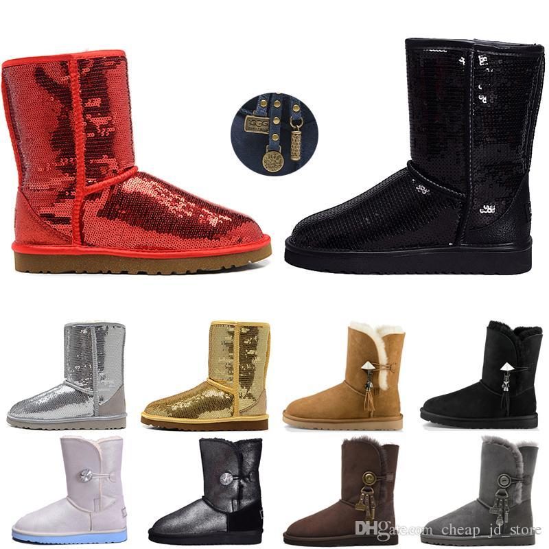543bb76b74 Women Boots Glitter Sequin WGG Australia Classic designer Snow winter boots  Ankle Mini Short Knee Sparkles Button Bling Boot direct selling