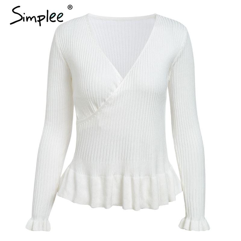 Simplee Ruffle knitted sweater Women peplum tops Long sleeve v neck slim sweater Autumn winter 2018 fashion wrap sweater